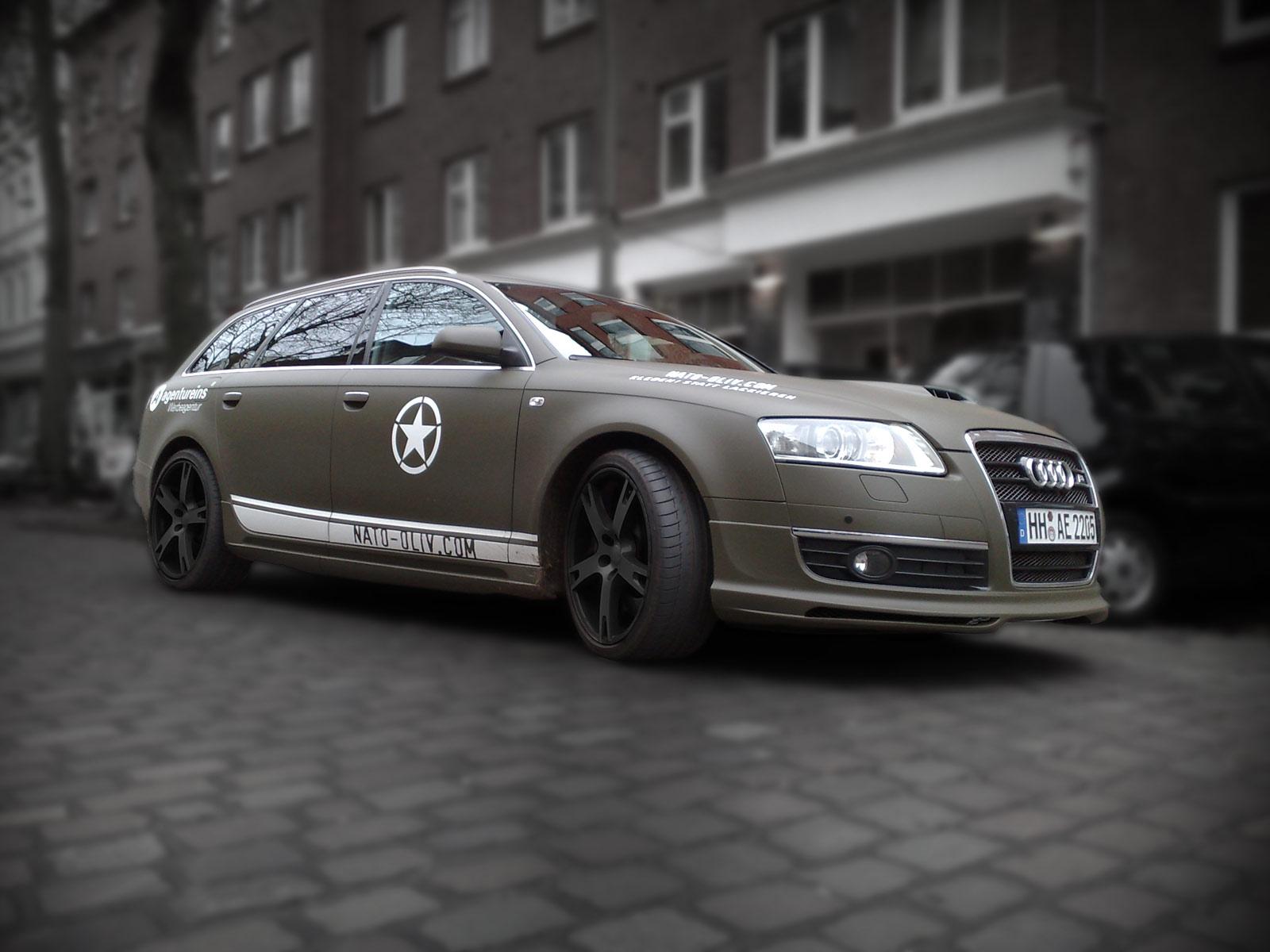 Dieser Audi A6 mit ABT-Kompressor und Body-Kit wurde mit Nato-Oliv Folie beklebt und danach beschriftet.