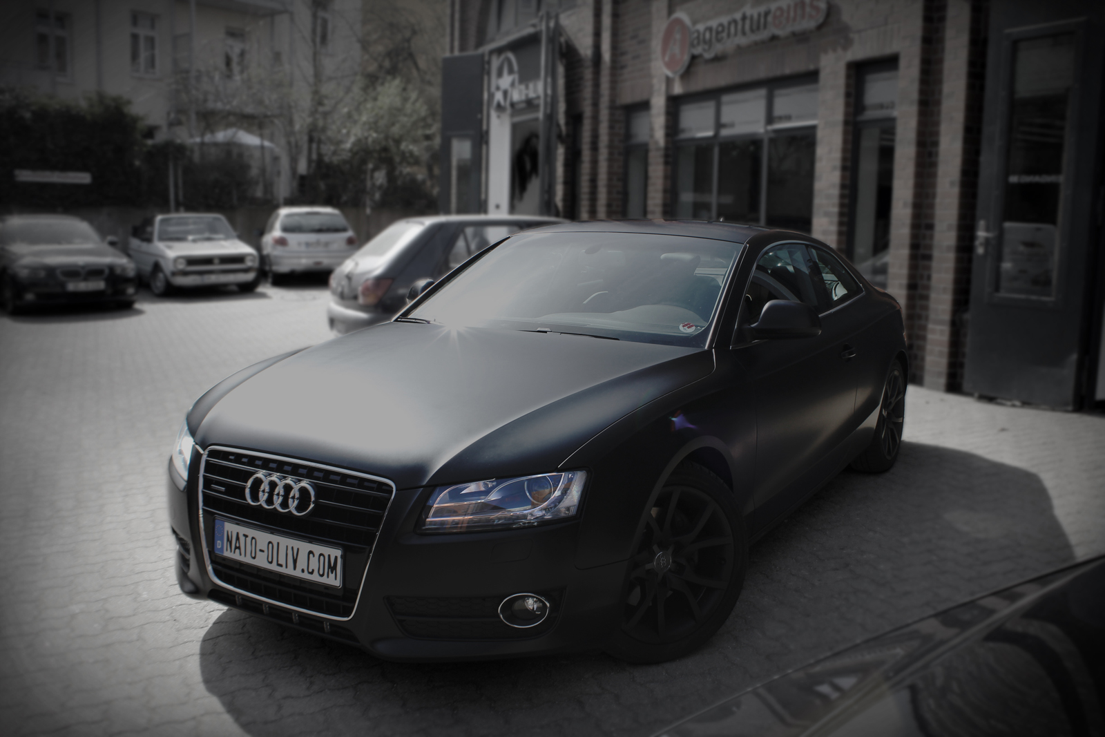 audi a5 in schwarz matt nato. Black Bedroom Furniture Sets. Home Design Ideas