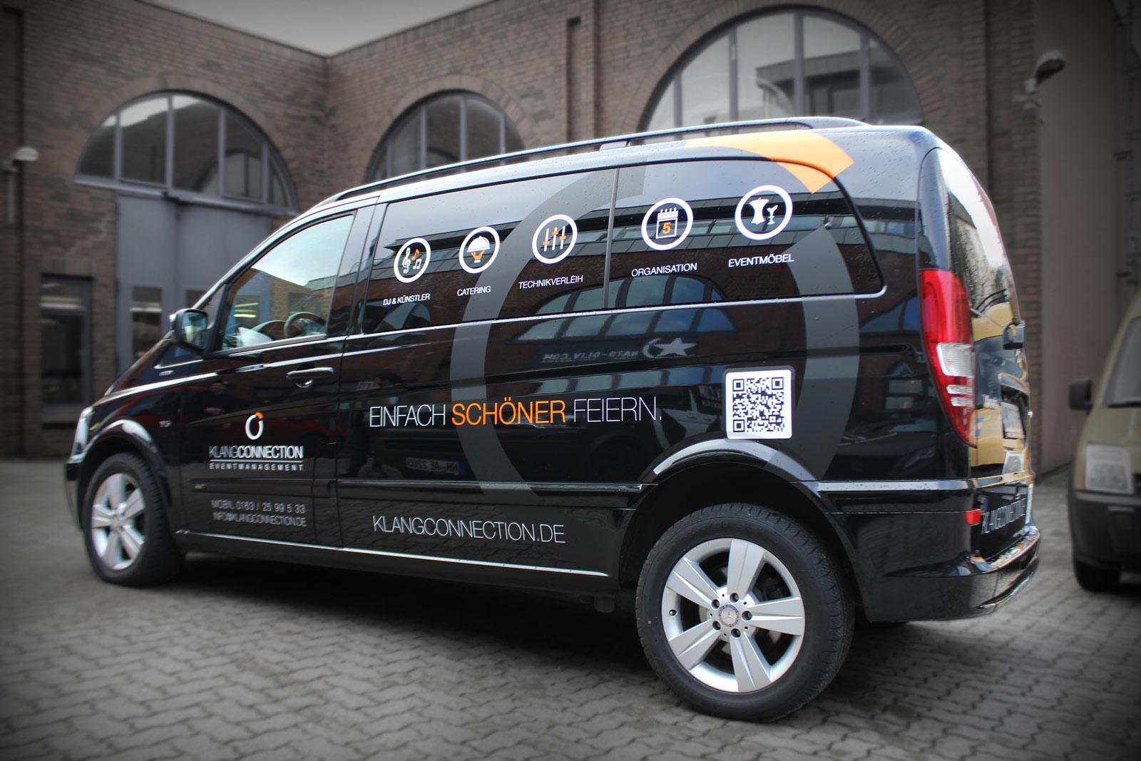 Mercedes Viano Werbebeklebung für die Firma KlangConnection.