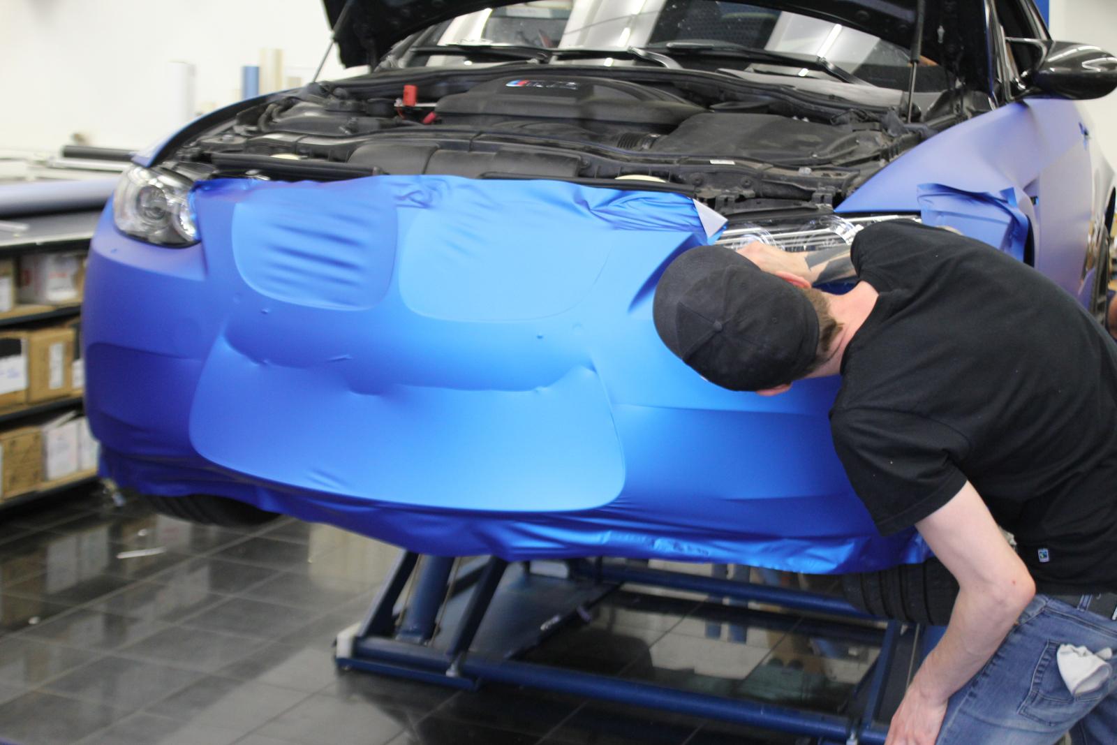 Car Wrapping Auto Folierung BMW M3 Aluminium Blue Metallic Matt