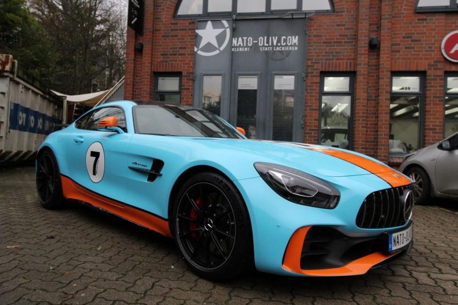 Mercedes AMG GT-R Gulf Design Car Wrapping Hamburg