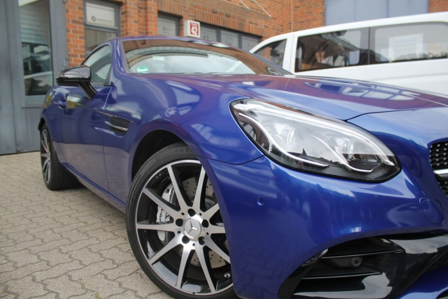 Mercedes Benz SLC 43 AMG Car Wrapping blau metallic glänzend Hamburg