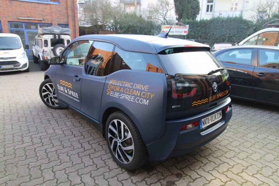 BMW i3 Branding Folierung dunkelblau matt Hamburg