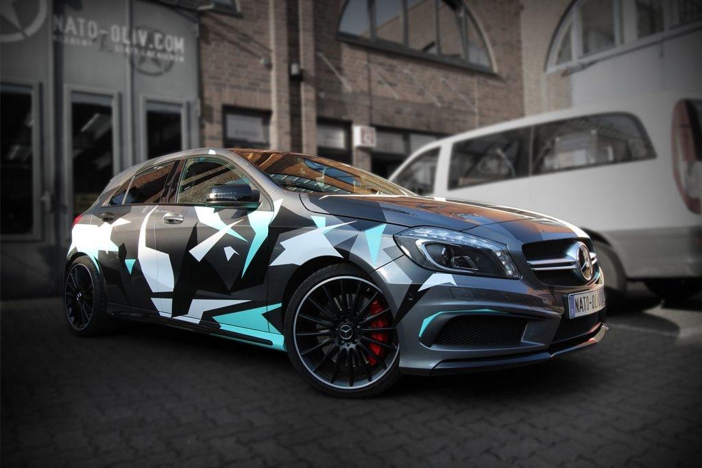 Mercedes A45 Premium Folierung Winter Camouflage Hamburg