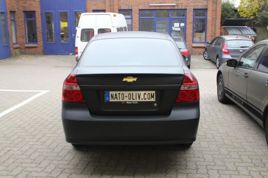 Chevrolet Aveo schwarz matt Premium Wrapping Hamburg