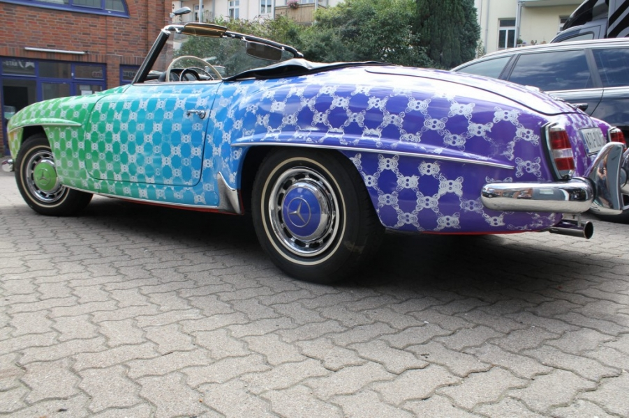 Mercedes 190 SL Wrapping 3D Digitaldruck Hamburg