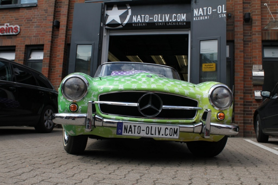 Mercedes 190 SL Premium Folierung 3D Digitaldruck Hamburg