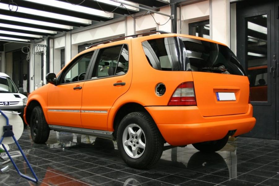 Mercedes ML in orange matt Fahrzeugfolierung Hamburg