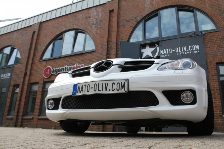 Mercedes SLK weiss matt Folierung Hamburg