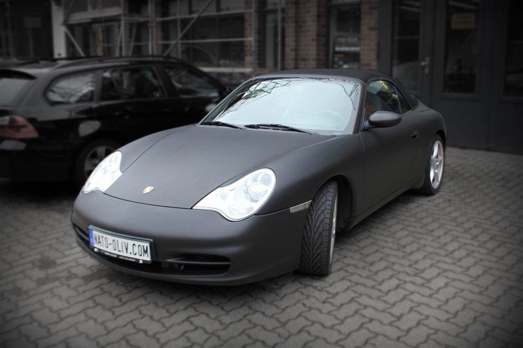 Porsche Cabrio Schwarz matt Fahrzeugfolierung Hamburg