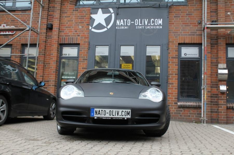 Porsche Cabrio Schwarz matt hochwertige Folierung Hamburg