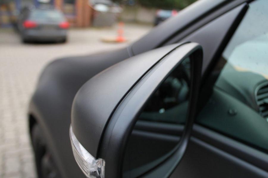 VW Golf GTI schwarz matt Folierung Aussenspiegel