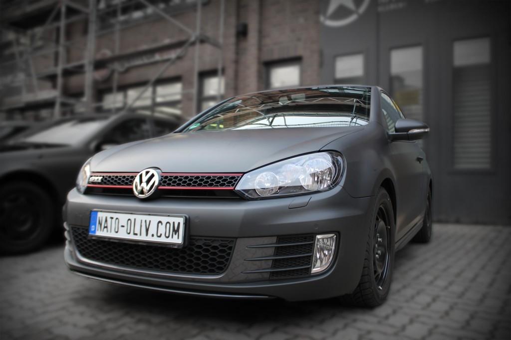 VW Golf GTI schwarz matt Scheibentönung Suntek