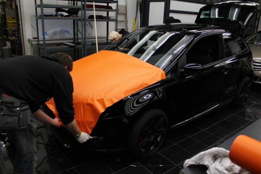 VW Polo GTI Folierung Motorhaube Orange Matt